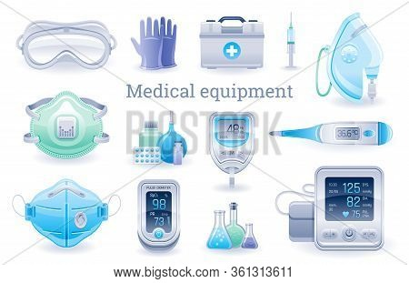 Medical Device Icon Set. Pulse Oximeter, Tonometer, Thermometer, Oxygen Mask, Blood Glucose Meter, R