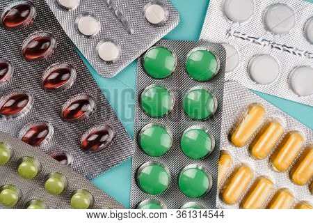 Colorful Tablets And Capsule Pills In Blister Pack. Pharmaceutical Industry. Pharmaceutical Manufact