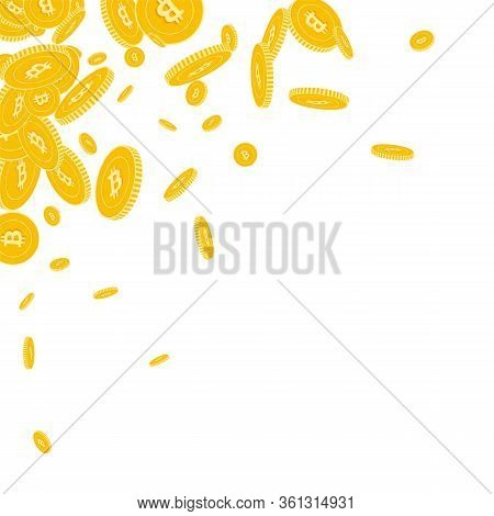 Bitcoin, Internet Currency Coins Falling. Scattered Floating Btc Coins On White Background. Excellen