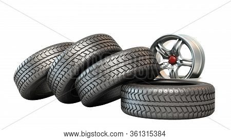 Tire Fitting Concept Car Wheels In Stack 3d Illustration On White No Shadow