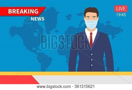 Tv News Anchorman. Man With Medical Mask, Main News Reader On A Television Program, Media Industry W