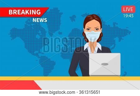 Beautiful Young Tv Newscaster Woman With Medical Mask Reporting Tv News Sitting In A Studio. Vector