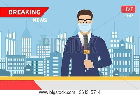 Tv News Anchorman. News Anchor Broadcasting The News With A Reporter With Medical Mask Live On Scree