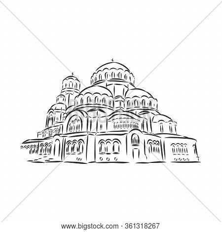 Alexander Nevsky Cathedral In Sofia, Bulgaria. A Drawing Drawn By Hand With A Black Handle