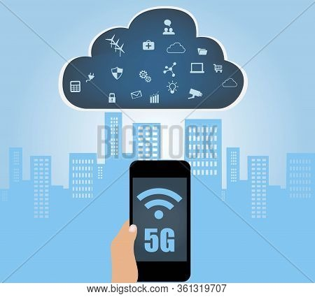 5g Technology With Internet Of Things Concept And Cloud Computing Technology With Different Icon And