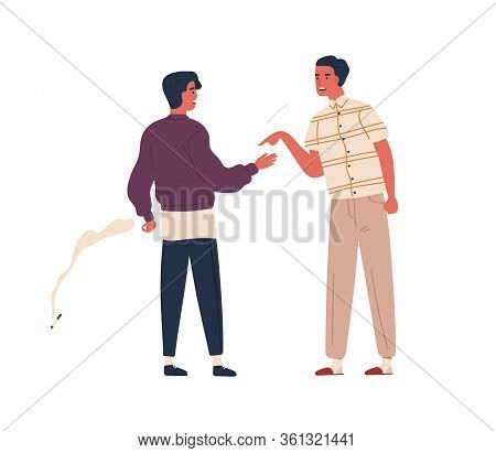 Furious Father Scold Teenager Son To Smoking Cigarette Vector Flat Illustration. Dispute Between Ang