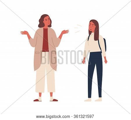 Angry Teenager Girl With Backpack Shout To Mother Vector Flat Illustration. Mad Female Adolescent Di