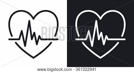 Cardiogram Icon. Heart Shape With Pulse. Simple Two-tone Vector Illustration On Black And White Back
