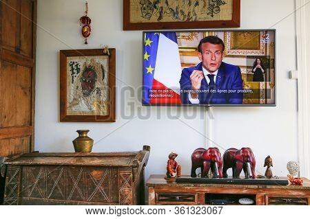 Paris, France - April 12, 2020. Emmanuel Macron, President, Talking Live At Tv To French People, Ann