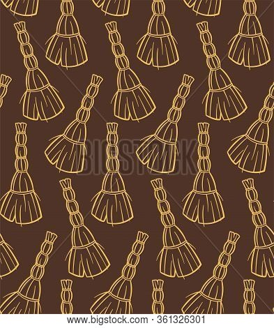 Outline Style Yellow Besoms For Cleaning Seamless Pattern On Brown Background