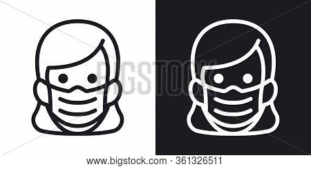 Woman In Medical Face Protection Mask. Protective Surgical Mask Icon. Simple Two-tone Vector Illustr