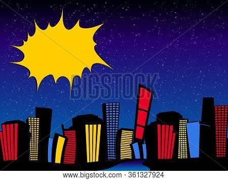 Vintage Retro Comics Cartoons Style Night Cityscape With Sky Scrapes Road And Blank Copy Space Yello