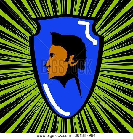 Retro Vintage Comics Cartoons Style Blue Shield With Black And Brown Male Head Over Green Star Burst