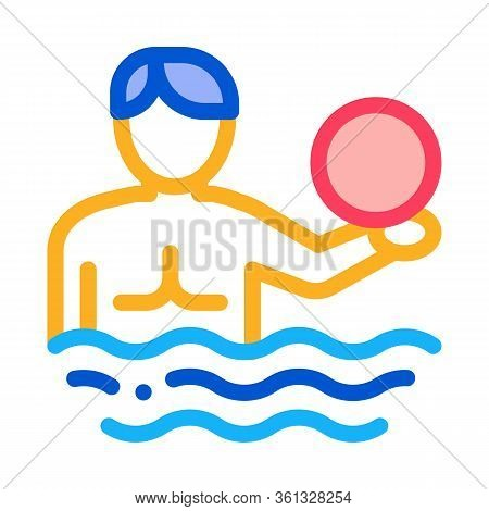 Man And Volleyball Water Ball Icon Vector. Man And Volleyball Water Ball Sign. Color Symbol Illustra