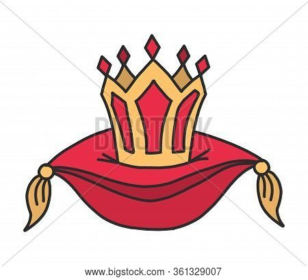 Royal Crown On A Red Velvet Pillow. Clip Art Illustration In Cartoon Style. Headgear Of The King. A