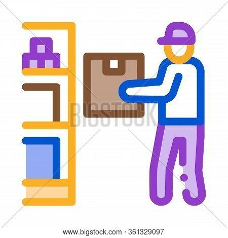 Man Restocking In Cellar Icon Vector. Man Restocking In Cellar Sign. Color Symbol Illustration