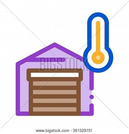 Temperature Measurements In Garage Icon Vector. Temperature Measurements In Garage Sign. Color Symbo