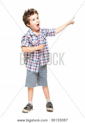 A Little Excited Boy Pointing At Something