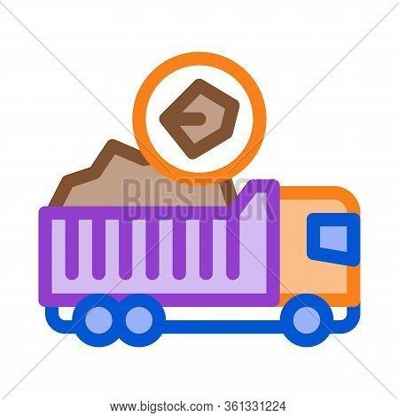 Coal Truck Icon Vector. Coal Truck Sign. Color Symbol Illustration