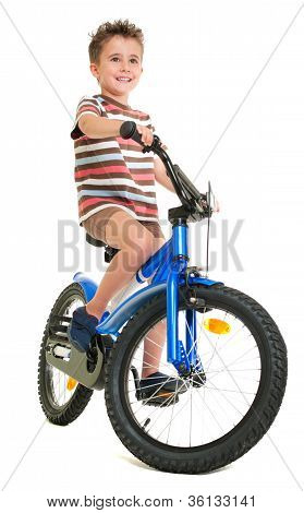 Happy Little Boy On Bike