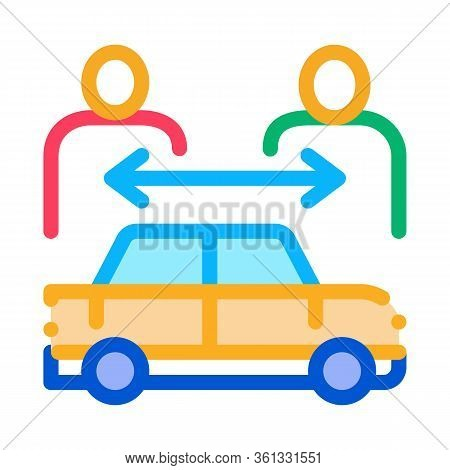Two Buyers Per Car Icon Vector. Two Buyers Per Car Sign. Color Symbol Illustration