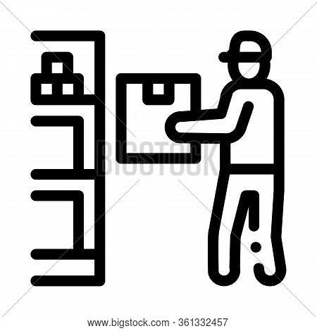 Man Restocking In Cellar Icon Vector. Man Restocking In Cellar Sign. Isolated Contour Symbol Illustr
