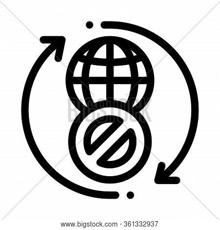 Worldwide Ban Icon Vector. Worldwide Ban Sign. Isolated Contour Symbol Illustration