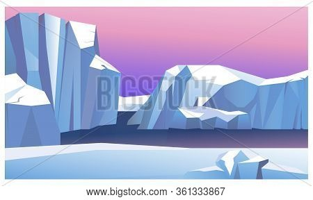 Ice Mountain In Water Illustration. Northern Lights Behind Icebergs. North Pole Illustration