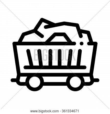Coal Cart Icon Vector. Coal Cart Sign. Isolated Contour Symbol Illustration