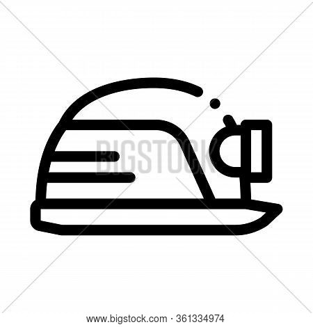 Safety Helmet With Flashlight Icon Vector. Safety Helmet With Flashlight Sign. Isolated Contour Symb