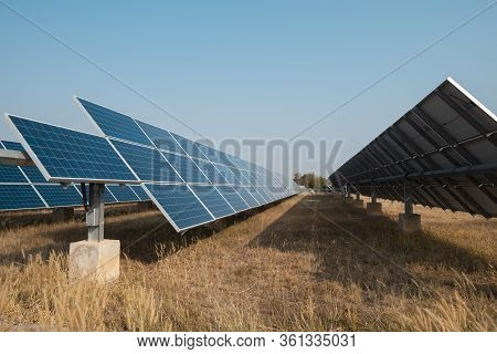 Solar Panel(solar Cell) With The Cloud On Sky, Hot Climate Causes Increased Power Production, Altern