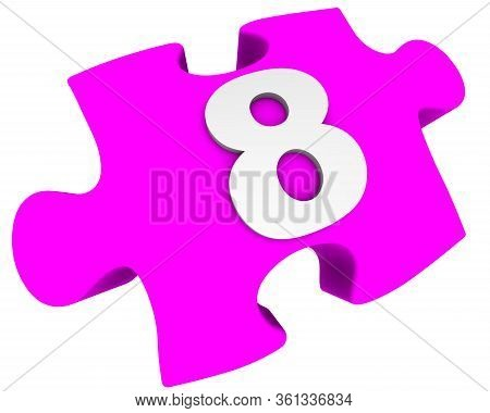 The Number Is Eight. Puzzle Element. The White Number 8 (eight) On One Pink Puzzle Element. Isolated