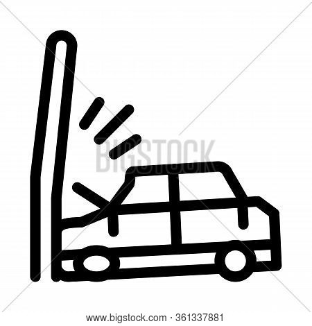Plunging Car Into Pole Icon Vector. Plunging Car Into Pole Sign. Isolated Contour Symbol Illustratio