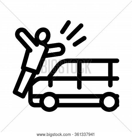 Pedestrian Hit By Car Icon Vector. Pedestrian Hit By Car Sign. Isolated Contour Symbol Illustration