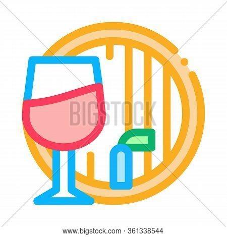 Wine Barrel Icon Vector. Wine Barrel Sign. Color Symbol Illustration