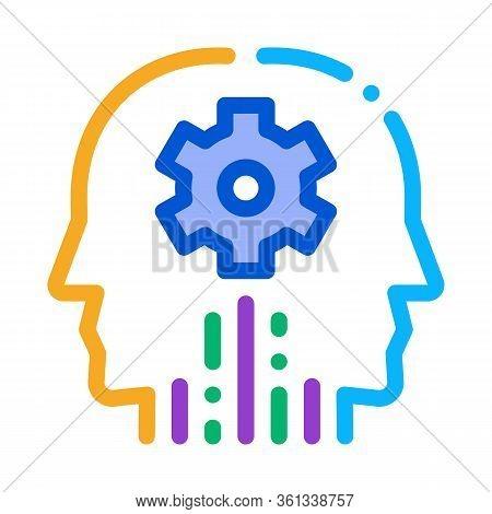 Cerebral Hemisphere Settings Icon Vector. Cerebral Hemisphere Settings Sign. Color Symbol Illustrati