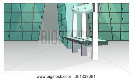 Sports Locker Room Illustration. Small Blue Lockers And Bench In Health Club. Changing Room Illustra