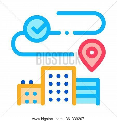 Geolocation In Residential Buildings Icon Vector. Geolocation In Residential Buildings Sign. Color S