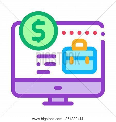 Computer Paid Work Icon Vector. Computer Paid Work Sign. Color Symbol Illustration