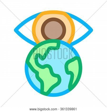 See World With Your Own Eyes Icon Vector. See World With Your Own Eyes Sign. Color Symbol Illustrati