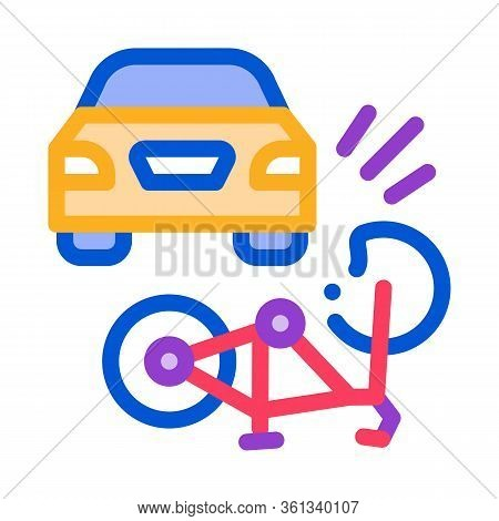 Bike And Car Accident Icon Vector. Bike And Car Accident Sign. Color Symbol Illustration