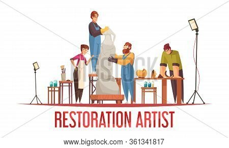 Flat Artist Restorer Concept With Group Of People Work On Old Statue Vector Illustration
