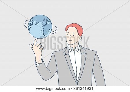 Global Business, Network, World Communication Concept. Young Businessman Boy Manager Cartoon Charact
