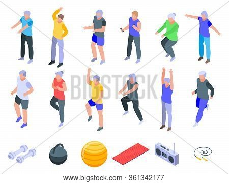 Workout Seniors Icons Set. Isometric Set Of Workout Seniors Vector Icons For Web Design Isolated On