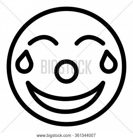 Laughing Emoji Icon. Outline Laughing Emoji Vector Icon For Web Design Isolated On White Background