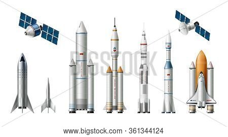 Rocket Spacecraft Realistic Set With Images Of Launch Vehicles Satellites And Manual Crafts On Blank