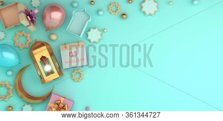 Islamic Background, Ramadan Background, Lantern, Crescent, Balloon, Calendar, Gift Box On Blue Paste