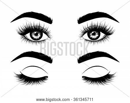 Fashion Illustration. Black And White Hand-drawn Image Of Beautiful Open And Closed Eyes With Eyebro