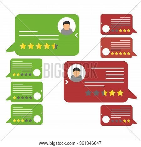 Review Rating Bubble Speeches Vector Illustration, Flat Style Reviews Stars With Good And Bad Rate A