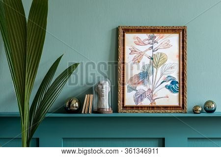 Stylish Living Room Interior At Apartment With Mock Up Poster Frame, Plant, Dried Flowers, Decoratio